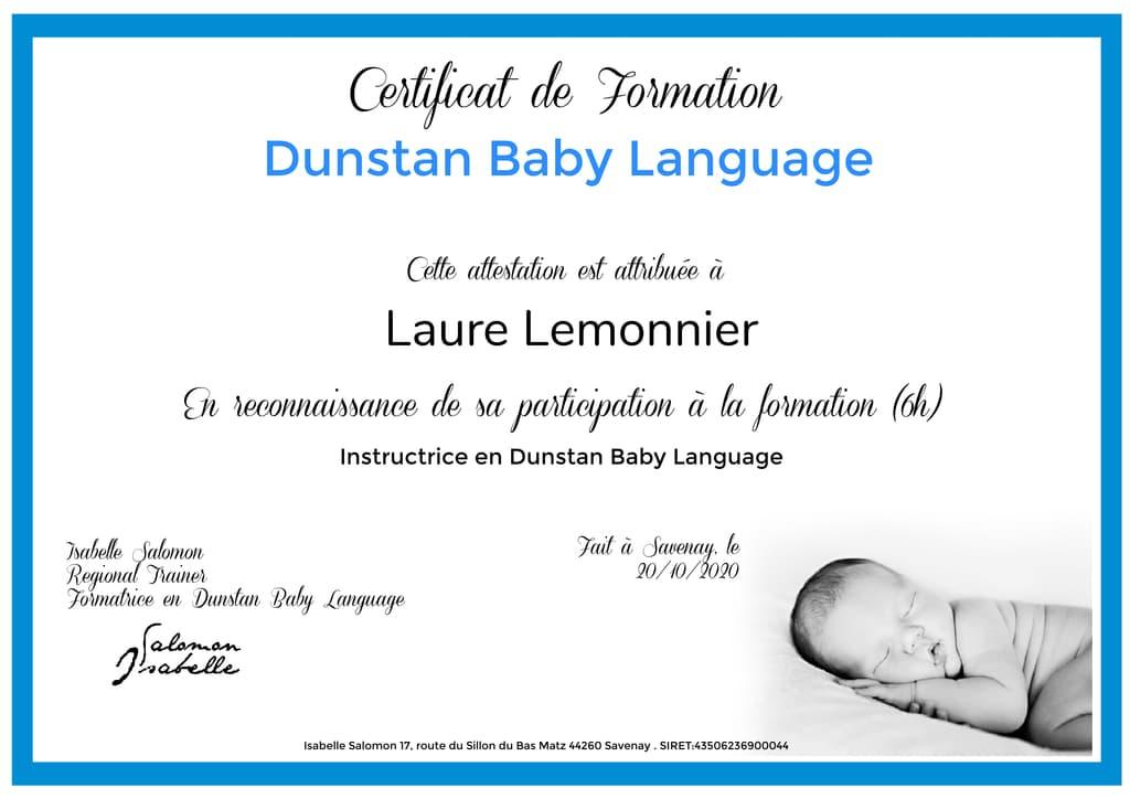 certificat dunstan baby language Laure Lemonnier instructrice en pleurs de bébé