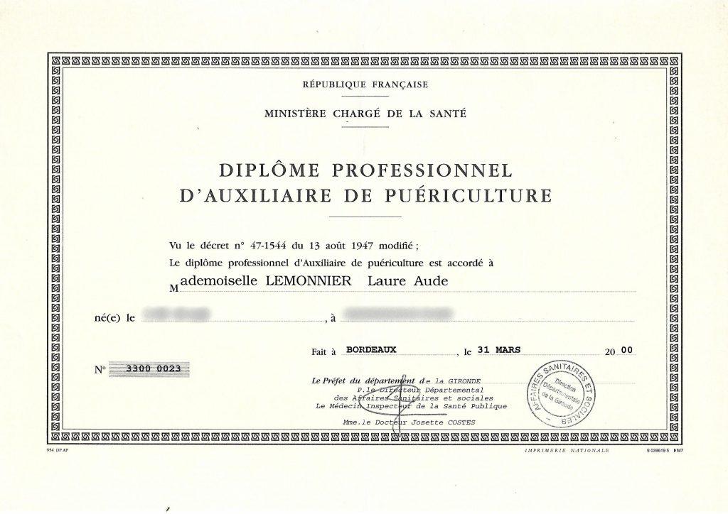 diplome auxiliaire de puériculture de Laure Lemonnier Tendres Histoirs